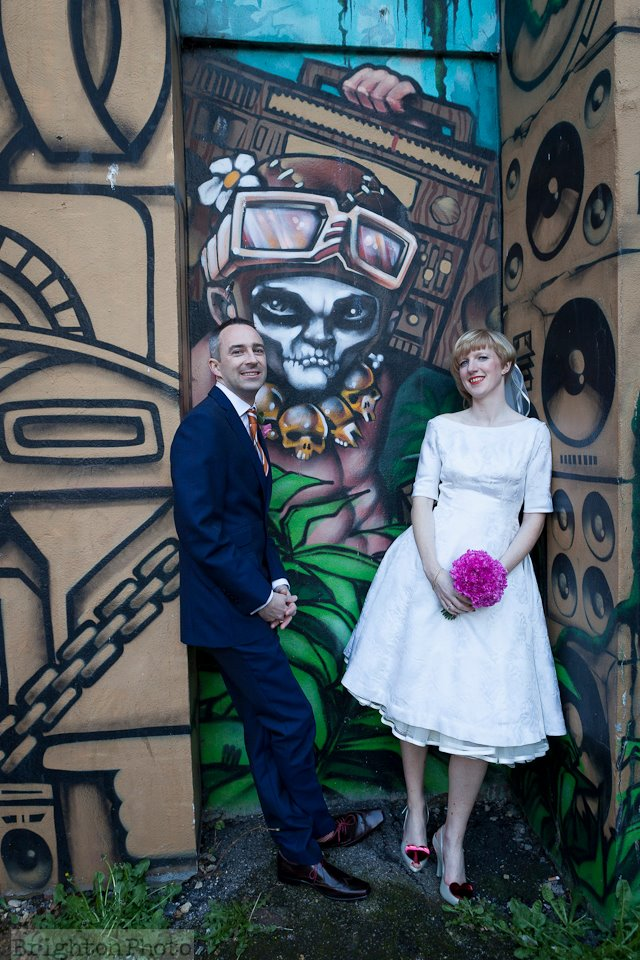 Brighton Wedding Graffiti photo, make up by Powder Beauty Boutique