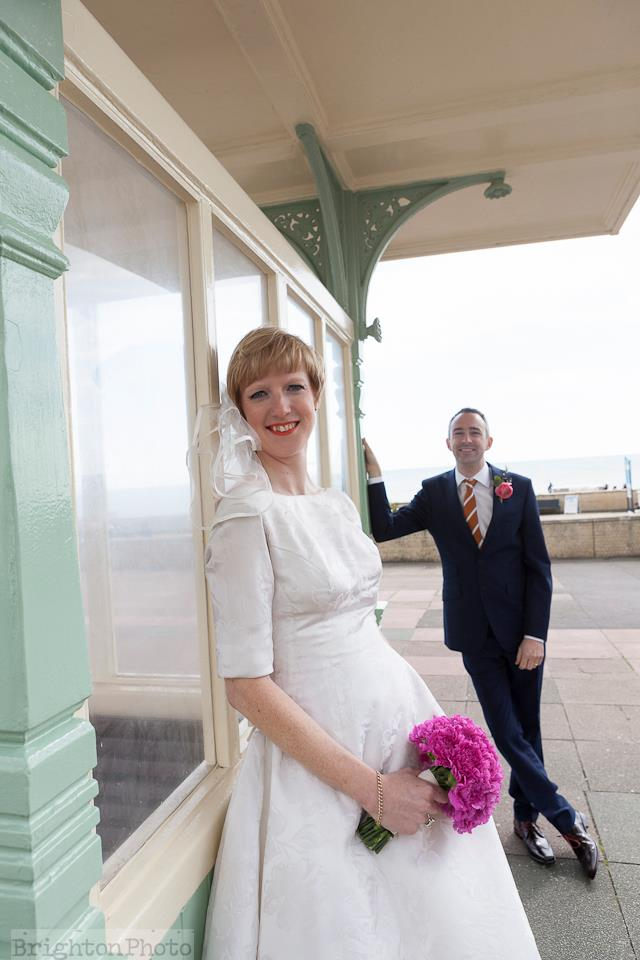 Brighton Wedding on the promonade under the shelter, make up by Powder Beauty Boutique