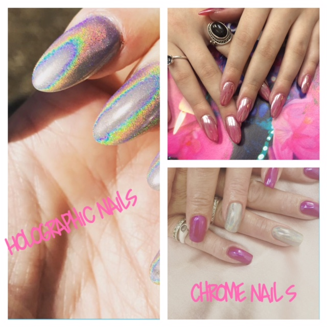 Chrome and Holographic Nail Extensions