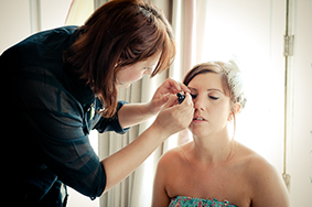 Bridal make up being applied by Powder Beauty in Brighton