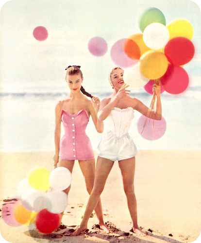 Girls on Beach with Balloons