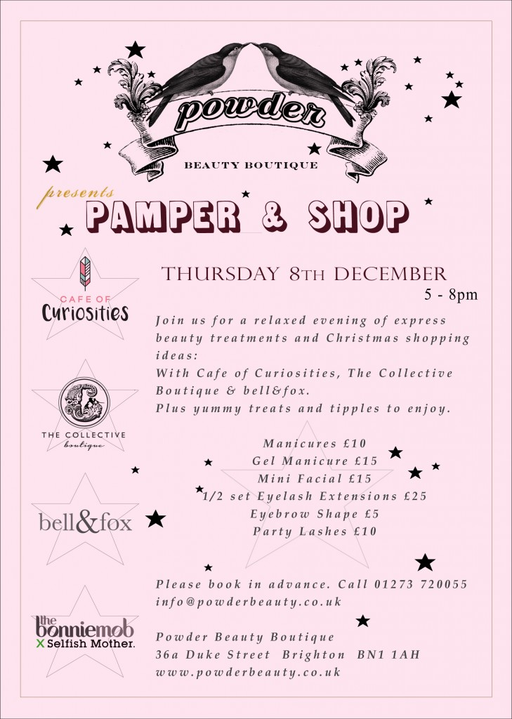 Come along to our Powder and Shop Event